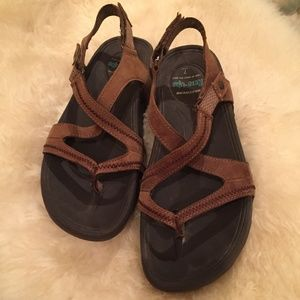 Skechers Tone Ups Brown Ankle Strap Sandals 7